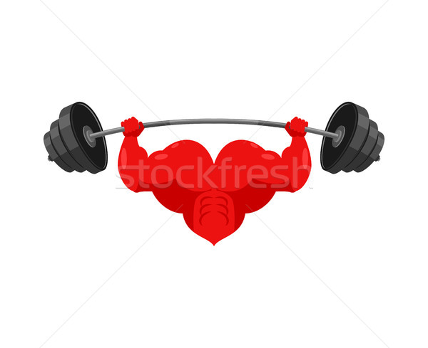 Strong heart and barbell. Powerful love athlete. Cardio training Stock photo © MaryValery