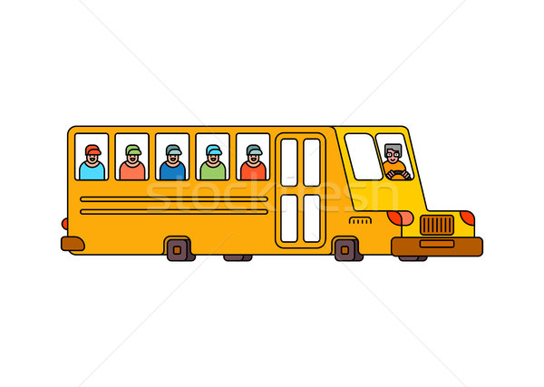 ストックフォト: スクールバス · スタイル · 孤立した · 黄色 · バス