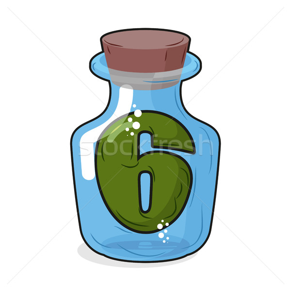 Figure 6 retro laboratory flask, bottle. Six in the old magic po Stock photo © MaryValery