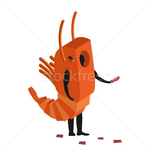 Shrimp costume man mascot promoter. Male in suit marine animal d Stock photo © MaryValery