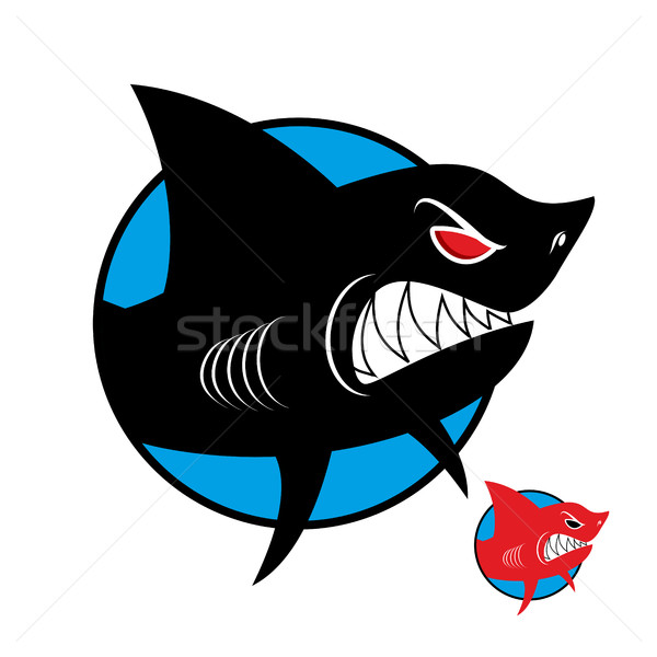 Shark logo. Angry shark in  circle. Vector logo for sports team  Stock photo © MaryValery