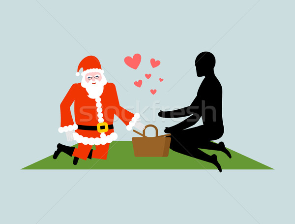 Christmas Lover. Santa Claus on picnic. Rendezvous in Park. Meal Stock photo © MaryValery