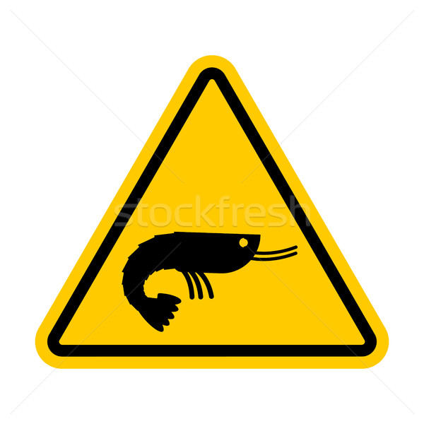 Attention shrimp. Dangers of yellow road sign. plankton Caution Stock photo © MaryValery