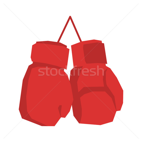 Red boxing gloves isolated. Sports accessories on white backgrou Stock photo © MaryValery