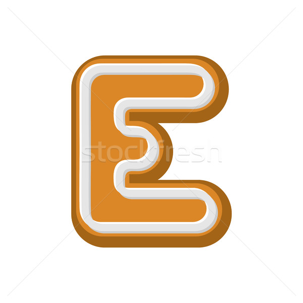 Letter E Gingerbread. Peppermint honey-cake font. Cookies alphab Stock photo © MaryValery