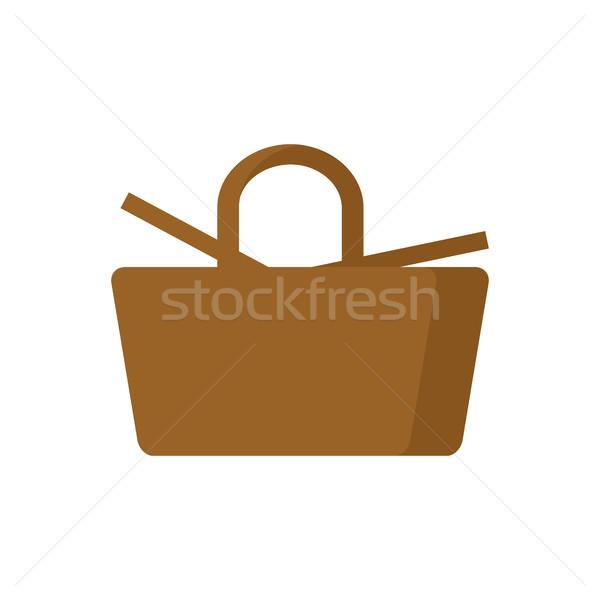 Picnic Basket isolated. wicker basket on white background Stock photo © MaryValery