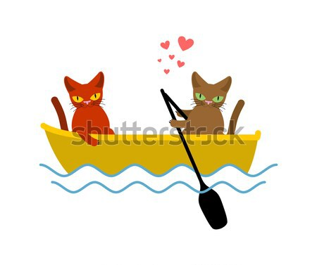 Cat lovers in bath. Lover Joint bathing.. Pet Romantic date. Cat Stock photo © MaryValery
