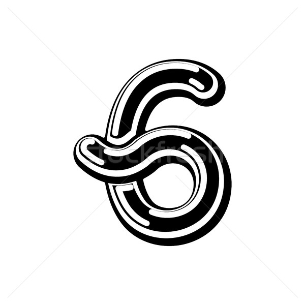 Number 6 Celtic font. norse medieval ornament ABC sign six. Trad Stock photo © MaryValery
