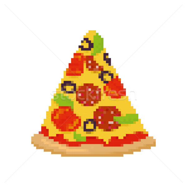 Pizza pixel arte pezzo fast food Foto d'archivio © MaryValery
