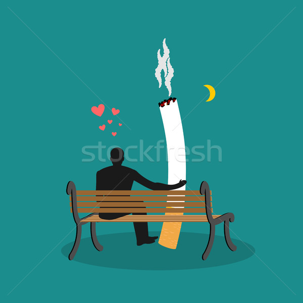 Lover smoke. Man and cigarette looking moon. Smoker on bench. Ni Stock photo © MaryValery