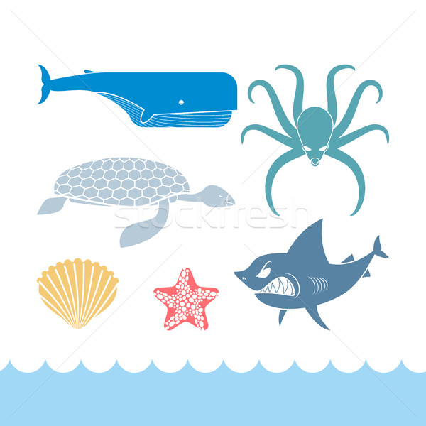Underwater World Set flat icons. Animals Ocean. Shark and octopu Stock photo © MaryValery