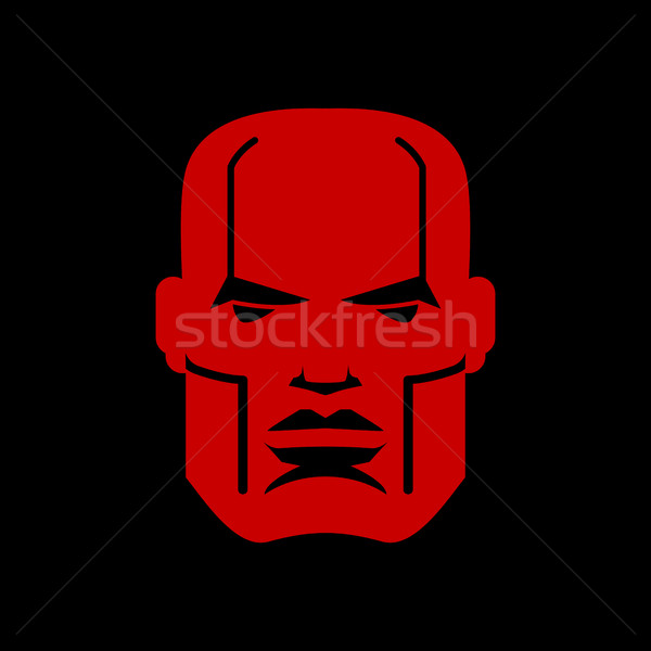 Serious face logo. Man head emblem. Red manly mask Stock photo © MaryValery