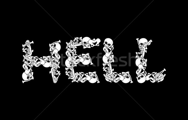 Enfer typographie lettres os anatomie mort Photo stock © MaryValery