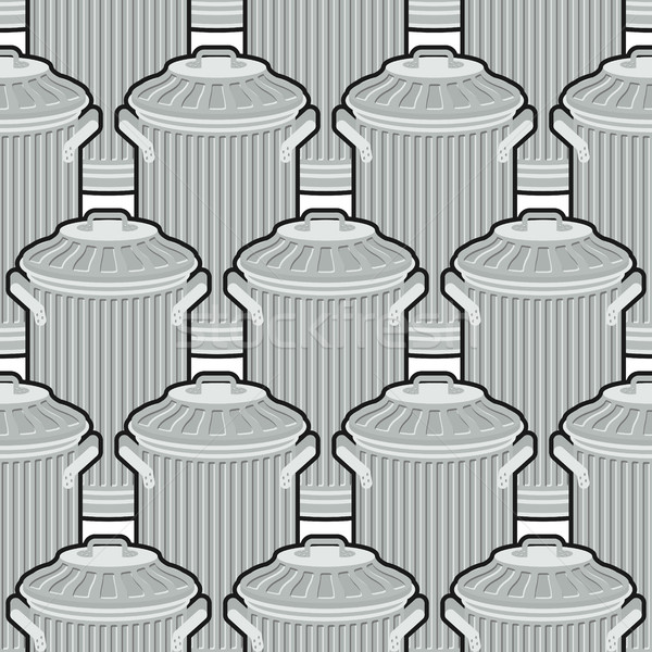 Trash can seamless pattern. Wheelie bin background. Dumpster iro Stock photo © MaryValery