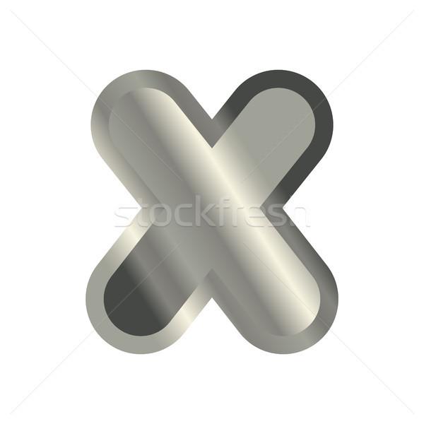 Letter X steel font. Metal alphabet sign. Iron ABC symbol. chrom Stock photo © MaryValery