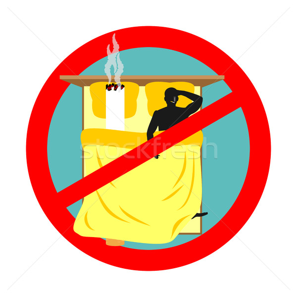 Forbidden to smoke in bed. Red sign prohibiting smoking. Ban smo Stock photo © MaryValery
