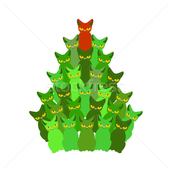 Fir-tree of cats. Spruce of pet. Christmas tree from cat. New Ye Stock photo © MaryValery