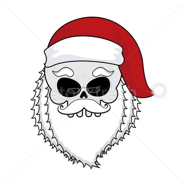 Santa skull. skeleton head in red santa hat. Death Christmas.  Stock photo © MaryValery