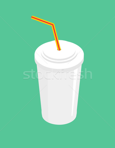 Drink with straw isolated. beverage fastfood on green background Stock photo © MaryValery
