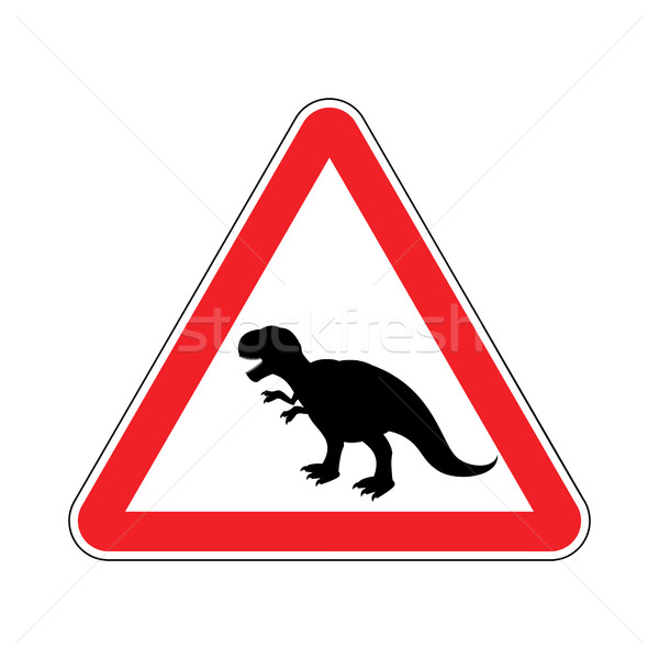 Attention dinosaur. Dangers of red road sign. Prehistoric predat Stock photo © MaryValery