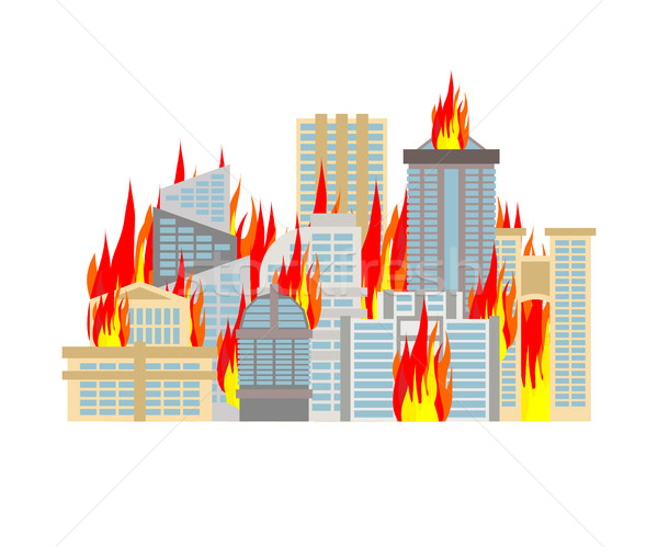 City fire. town on flames. Buildings burn Stock photo © MaryValery