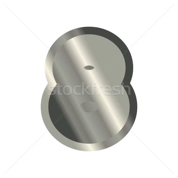 Number 8 steel. Metal font eight . Silver alphabet sign. Iron AB Stock photo © MaryValery