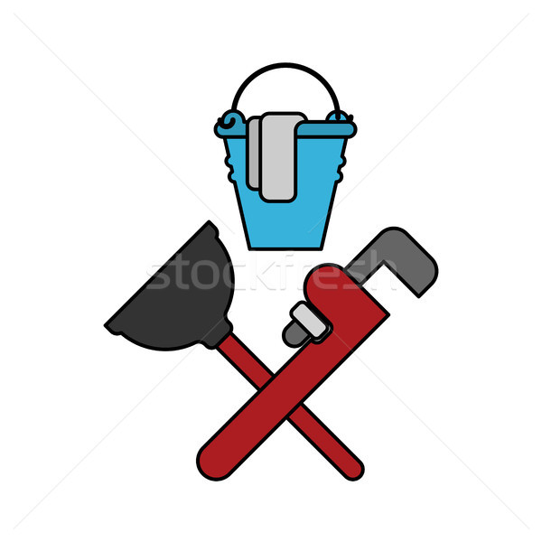 Plumber service emblem. Plumber and Logo Cleaning. rubber plunge Stock photo © MaryValery