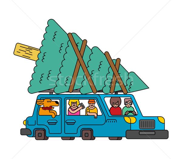 Auto Weihnachtsbaum auto Fichte Neujahr Illustration Stock foto © MaryValery