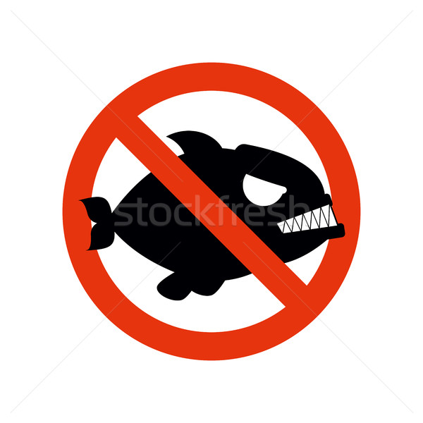 Forbidden Piranha. Stop fish. Red forbidding character. Striketh Stock photo © MaryValery