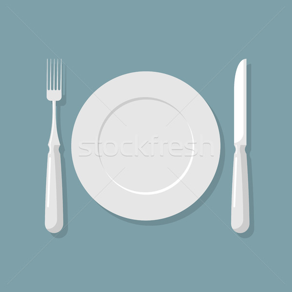 Empty white plate top view. Knife and fork. Cutlery. Vector illu Stock photo © MaryValery