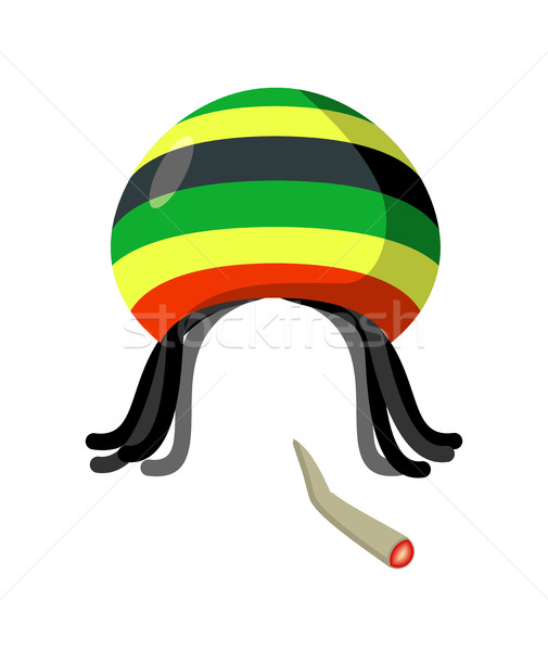 Rasta Cap with dreadlocks on white background. Spliff  smoking d Stock photo © MaryValery