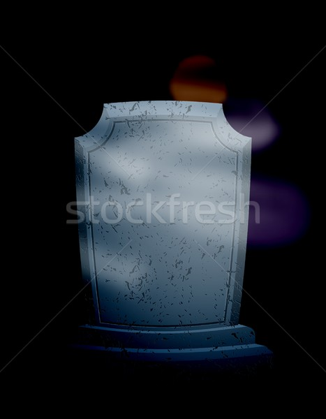 Szürkület temető éjszaka hold sötét égbolt Stock fotó © MaryValery