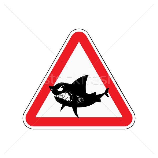 Sign of attention to shark. Red triangle with silhouette of  too Stock photo © MaryValery