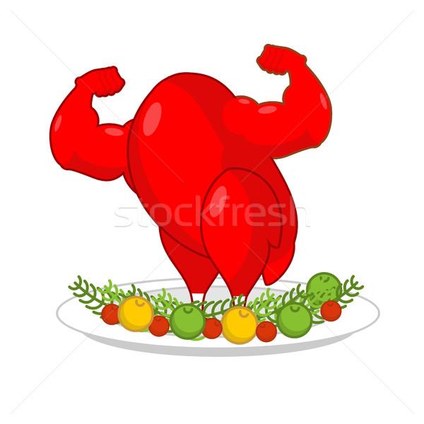 赤 オンドリ 強い プレート 野菜 コック ストックフォト © MaryValery
