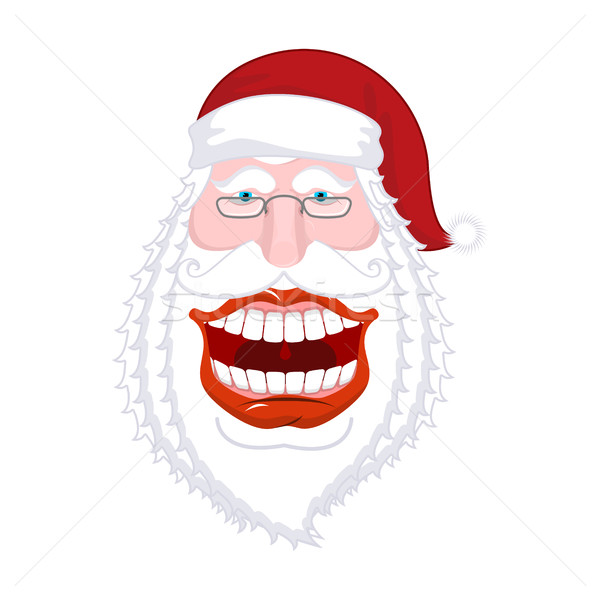 Chortle Santa Claus. Broad smile. large mouth. Merry Christmas o Stock photo © MaryValery
