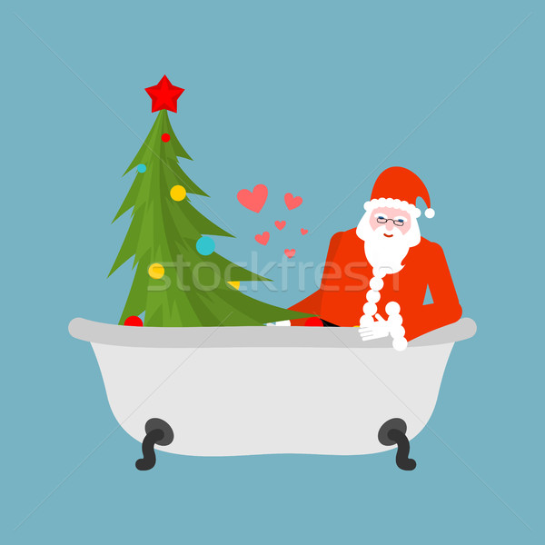 Santa Claus and Christmas tree in bath. Christmas bathing. Old m Stock photo © MaryValery
