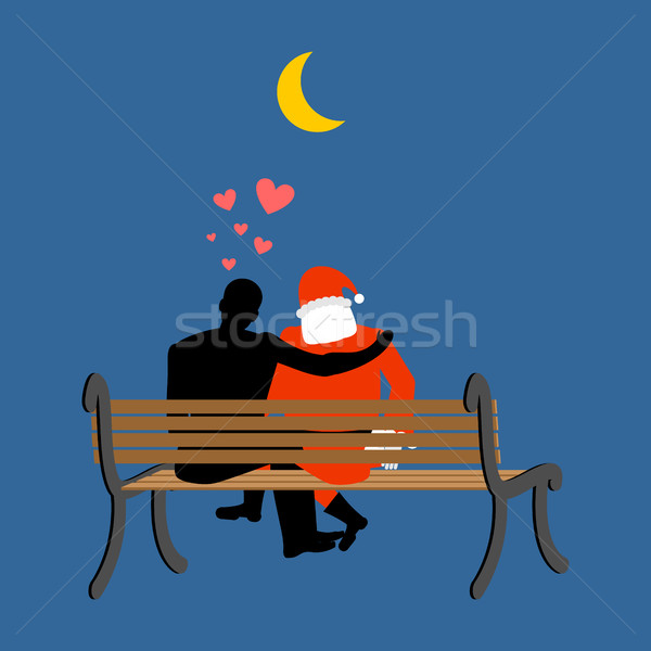 Karácsony szerető mikulás férfi néz hold Stock fotó © MaryValery