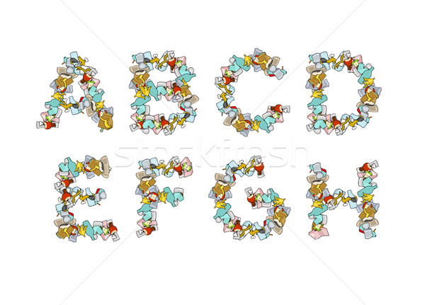 Rubbish font. Trash ABC. garbage alphabet. Letter litter. Part 1 Stock photo © MaryValery