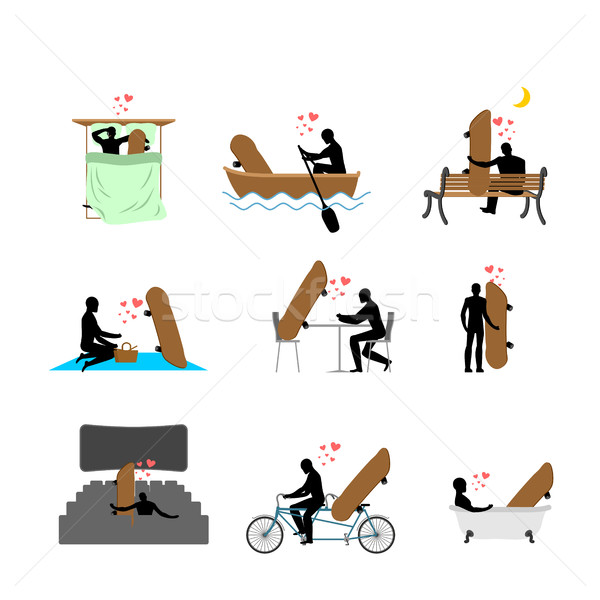 Lover skateboarding set. Man and Skateboard in movie theater. Lo Stock photo © MaryValery