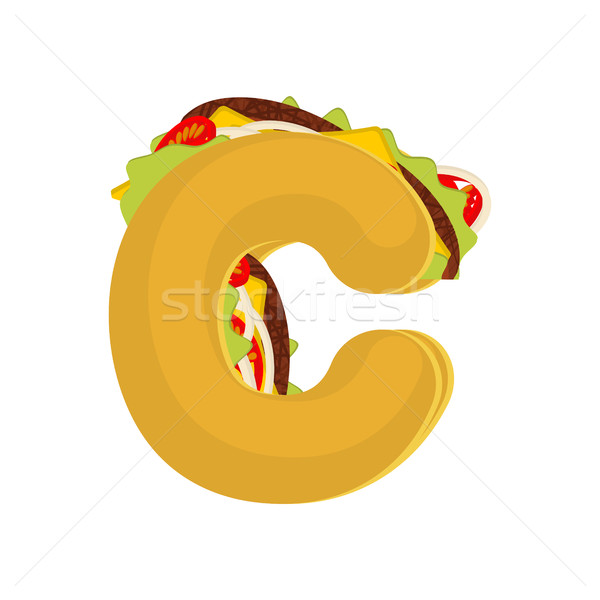Letter C tacos. Mexican fast food font. Taco alphabet symbol. Me Stock photo © MaryValery