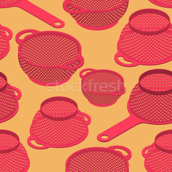 Colander seamless pattern. Pastafarianism cap background. Kitche Stock photo © MaryValery