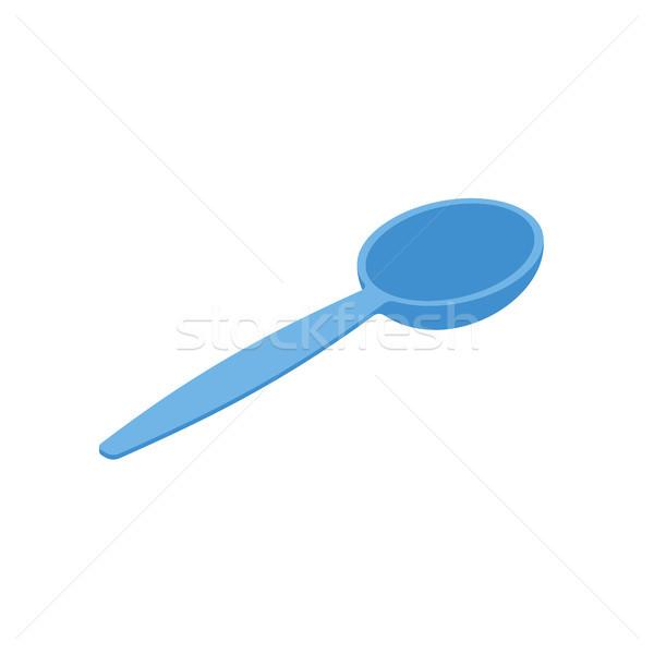 Niebieski łyżka odizolowany sztućce biały żywności Zdjęcia stock © MaryValery