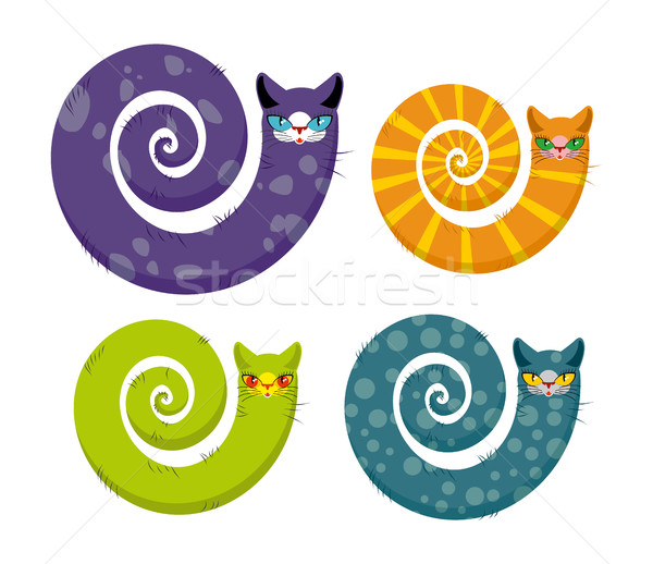 Cat with  long tail. Snake cat. Set of fantastic animals color c Stock photo © MaryValery