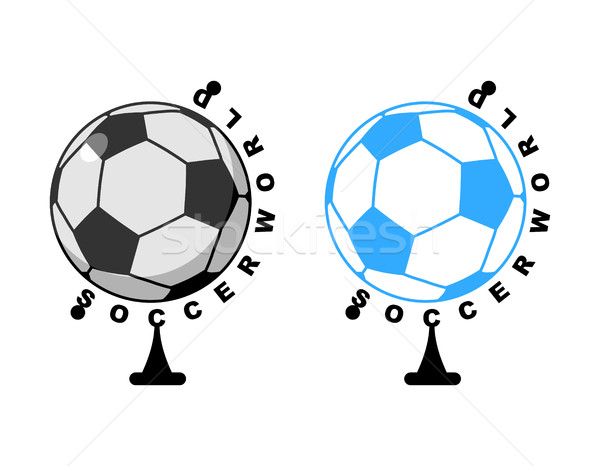 World football. Globe ball game. Sports accessory as earth spher Stock photo © MaryValery