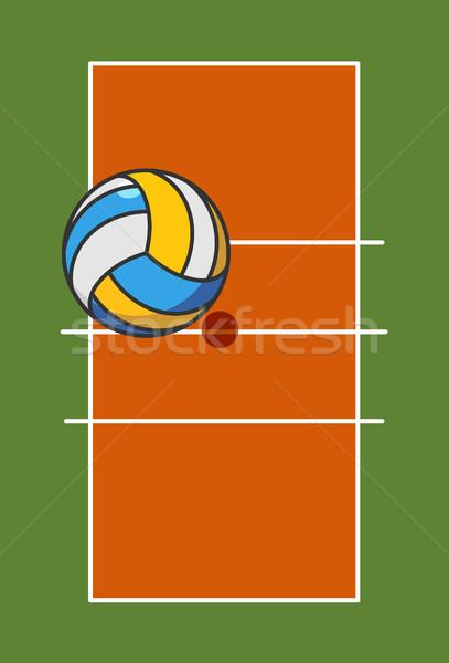 Volleyball domaine balle jeu élevé au-dessus Photo stock © MaryValery