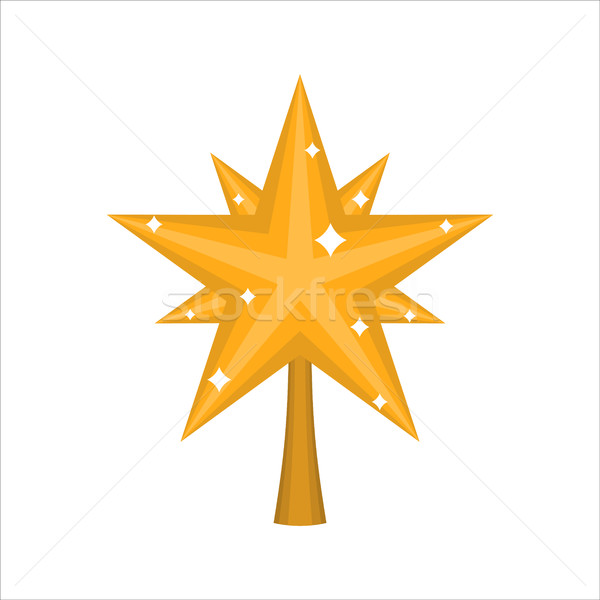 Christmas gold Star for tree. decoration for fir-tree isolated.  Stock photo © MaryValery