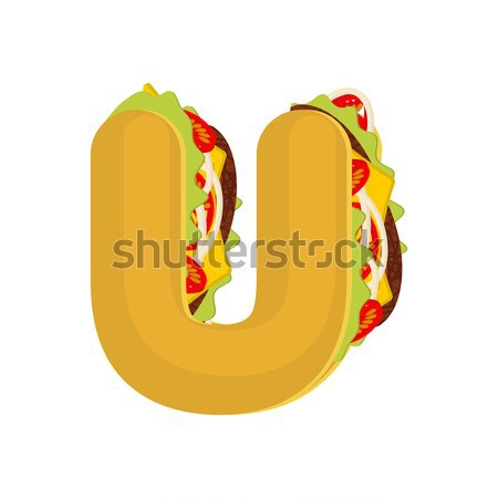 Letter J tacos. Mexican fast food font. Taco alphabet symbol. Me Stock photo © MaryValery