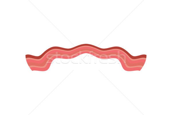 Bacon roasted isolated. Thin piece of pork meat Stock photo © MaryValery