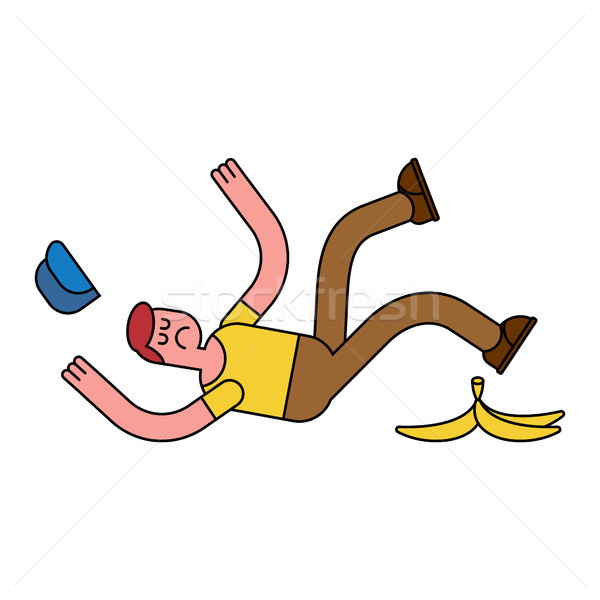 Fall on banana. Slip on banana peel. guy flopped. Man fell Stock photo © MaryValery
