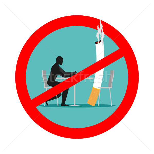 Forbidden to smoke in cafes. Ban smoking. Red sign and crossed c Stock photo © MaryValery
